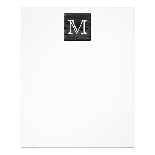 Your Letter Monogram. Picture of Black Wood. Personalized Flyer