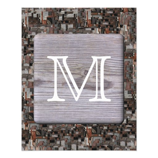 Your Letter Monogram. Picture of Wood and Pattern. Flyer
