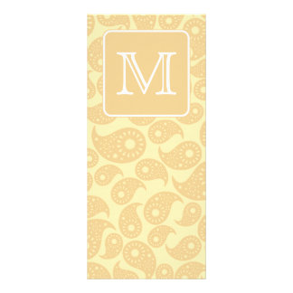 Your Letter Monogram. Tan Beige Paisley Pattern. Customized Rack Card