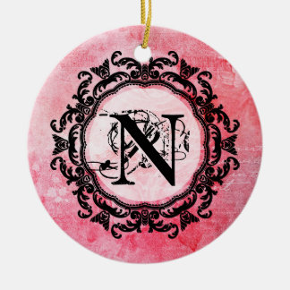 Your Letter,Old,Vintage,Romantic,Rose,Pattern Christmas Ornament