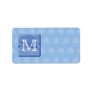 Your Letter. Picture of Wood in Blue. Nautical. Label