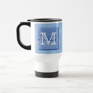 Your Letter. Picture of Wood in Blue. Nautical. Travel Mug