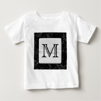 Your Letter. Picture of Wood on Black Pattern. Baby T-Shirt