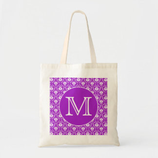 Your Letter. Purple and White Damask Pattern.