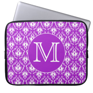 Your Letter. Purple and White Damask Pattern. Laptop Sleeve