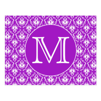 Your Letter. Purple and White Damask Pattern. Postcard