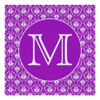 Your Letter. Purple and White Damask Pattern. Poster