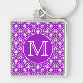 Your Letter. Purple and White Damask Pattern. Silver-Colored Square Key Ring