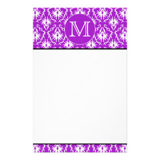 Your Letter. Purple and White Damask Pattern. Stationery