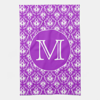 Your Letter. Purple and White Damask Pattern. Tea Towel