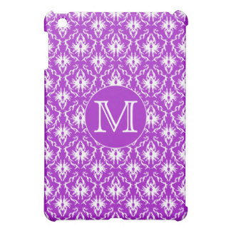 Your Letter. Purple and White Damask Pern. iPad Mini Covers