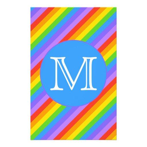 Your Letter, Rainbow Stripes Monogram. Flyers