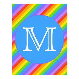 Your Letter Rainbow Stripes Monogram Custom Flyer