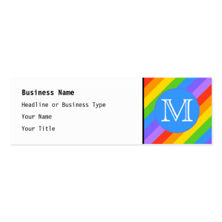 Your Letter, Rainbow Stripes Monogram. Pack Of Skinny Business Cards