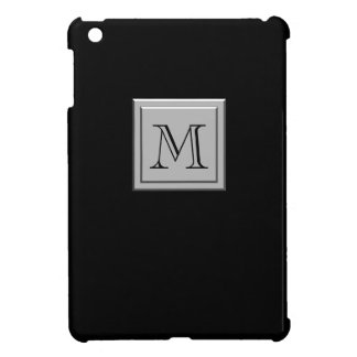 Your Letter. Your Monogram. Metallic Silver Black iPad Mini Case