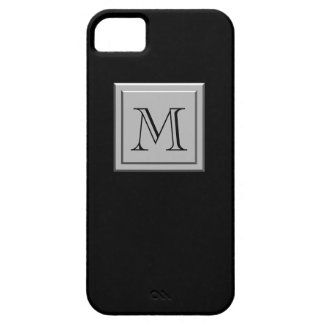 Your Letter. Your Monogram. Silver Black iPhone 5 Case