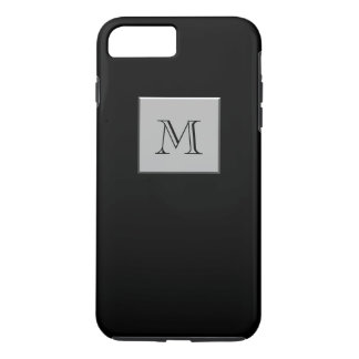 Your Letter Your Monogram Silver Black iPhone 7 Plus Case