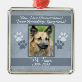 Your Love Unconditional Pet Sympathy Custom Silver-Colored Square Decoration