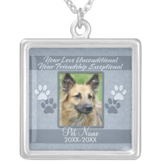 Your Love Unconditional Pet Sympathy Custom Silver Plated Necklace