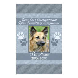 Your Love Unconditional Pet Sympathy Custom Stationery