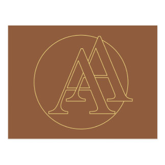 """Your monogram """"A&A"""" on """"iced coffee"""" background Postcard"""