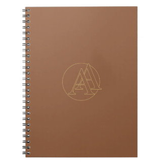 """Your monogram """"A&A"""" on """"iced coffee"""" background Spiral Notebook"""