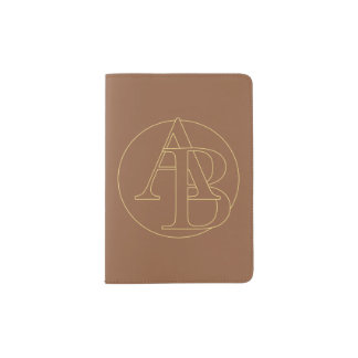 """Your monogram """"A&C"""" on """"iced coffee"""" background Passport Holder"""