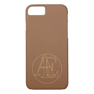 """Your monogram """"A&E"""" on """"iced coffee"""" background iPhone 7 Case"""