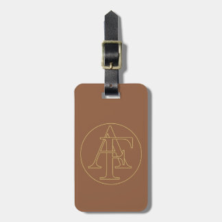 "Your monogram ""A&F"" on ""iced coffee"" background Luggage Tag"