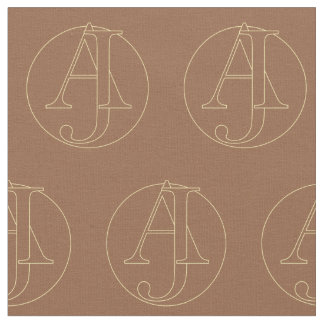 """Your monogram """"A&J"""" on """"iced coffee"""" background Fabric"""