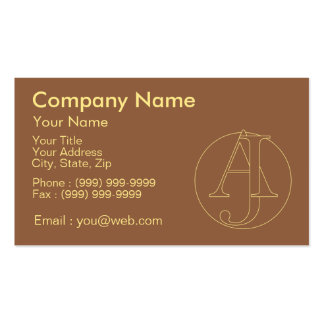 """Your monogram """"A&J"""" on """"iced coffee"""" background Pack Of Standard Business Cards"""