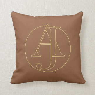 """Your monogram """"A&J"""" on """"iced coffee"""" background Throw Cushions"""