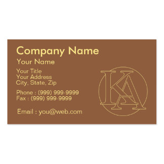 """Your monogram """"A&K"""" on """"iced coffee"""" background Pack Of Standard Business Cards"""
