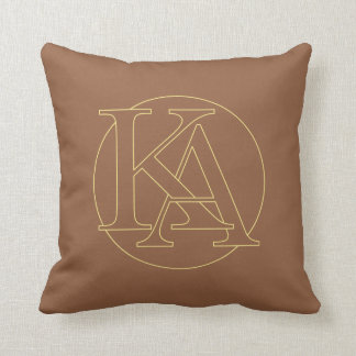 """Your monogram """"A&K"""" on """"iced coffee"""" background Throw Cushion"""