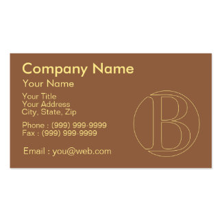 """Your monogram """"B"""" on """"iced coffee"""" background Pack Of Standard Business Cards"""