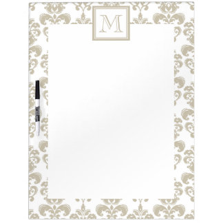 Your Monogram, Beige Damask Pattern 2 Dry Erase Whiteboard