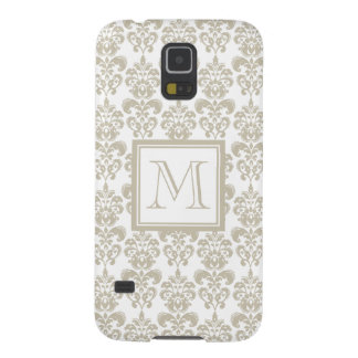 Your Monogram, Beige Damask Pattern 2 Galaxy S5 Cover