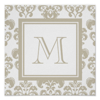 Your Monogram, Beige Damask Pattern 2 Poster