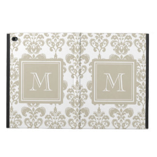 Your Monogram, Beige Damask Pattern 2 Powis iPad Air 2 Case