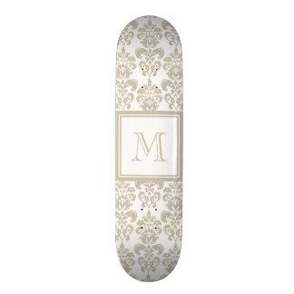 Your Monogram, Beige Damask Pattern 2 Skate Boards