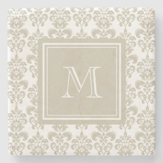 Your Monogram, Beige Damask Pattern 2 Stone Coaster