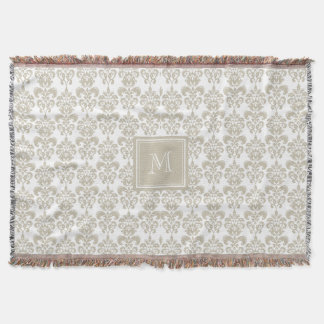 Your Monogram, Beige Damask Pattern 2 Throw Blanket