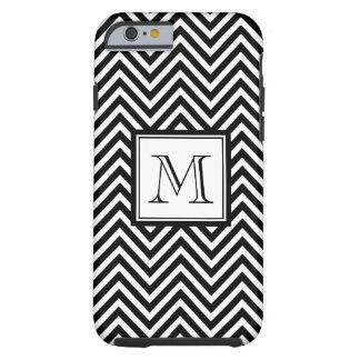 YOUR MONOGRAM, BLACK CHEVRON TOUGH iPhone 6 CASE