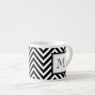 YOUR MONOGRAM, BLACK CHEVRON ESPRESSO CUP