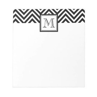 YOUR MONOGRAM, BLACK CHEVRON NOTEPAD