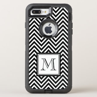 YOUR MONOGRAM, BLACK CHEVRON OtterBox DEFENDER iPhone 7 PLUS CASE