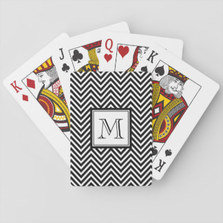 YOUR MONOGRAM, BLACK CHEVRON PLAYING CARDS