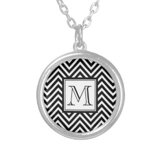 YOUR MONOGRAM, BLACK CHEVRON SILVER PLATED NECKLACE
