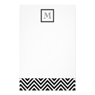 YOUR MONOGRAM, BLACK CHEVRON STATIONERY