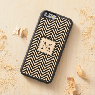 YOUR MONOGRAM, BLACK CHEVRON MAPLE iPhone 6 BUMPER CASE